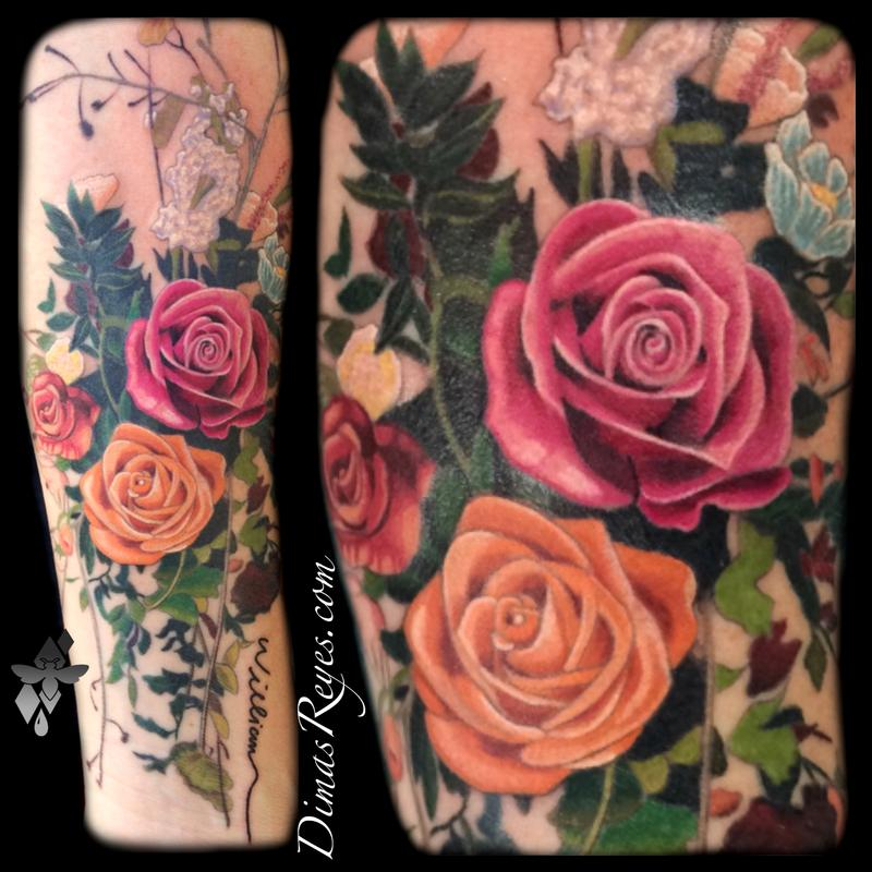 Bouquet Tattoo Tattoos: Realistic Color Flower Bouquet Tattoo By Dimas Reyes : Tattoos
