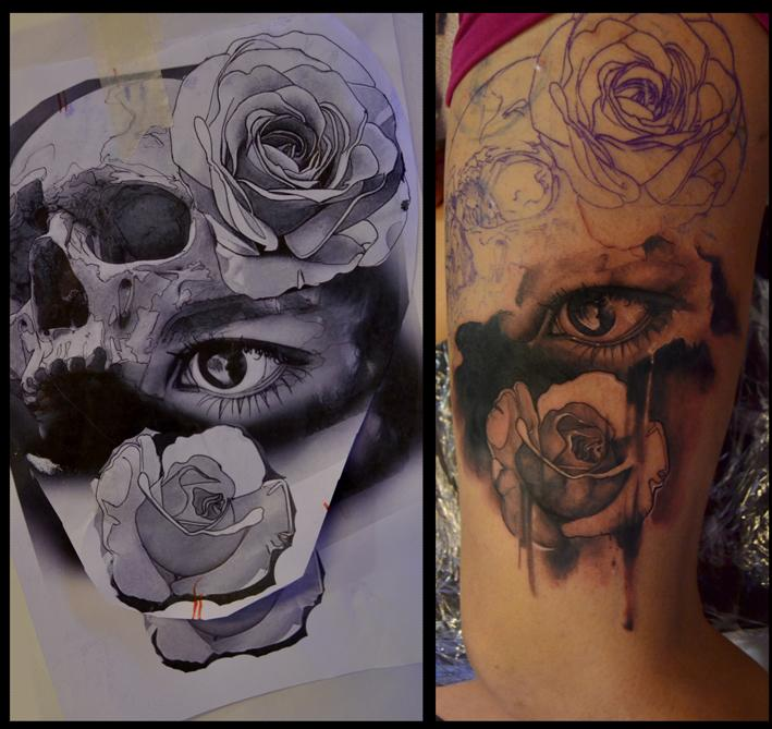 Eye In A Rose Tattoo: Off The Map Tattoo
