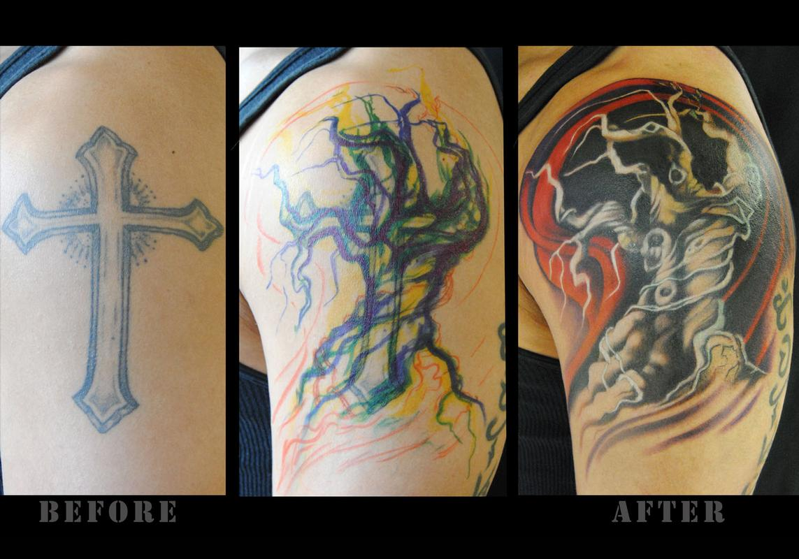 Tattoo Cover Up Of A Cross - All About Tattoo