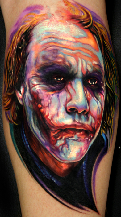 heath ledger joker from dark knight tattoo by paul acker