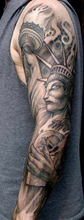 Statue of liberty sleeve tattoo by paul booth tattoonow for Statue of liberty tattoo
