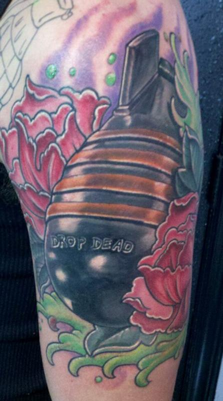 Drop dead by bart andrews tattoos for Custom tattoo armrest for sale