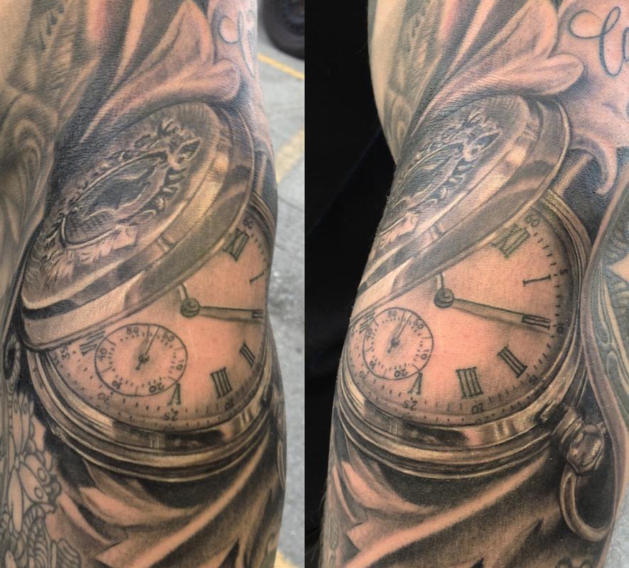 Watch Sleeve Tattoo: Pocket Watch On Forearm By Bart Andrews: TattooNOW