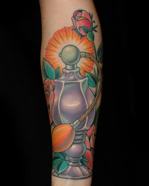 Perfume and roses by russ abbott tattoos for Custom tattoo armrest for sale