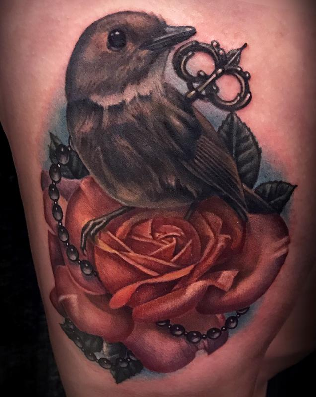 Realistic bird and rose tattoo by danny elliott tattoonow for Realistic bird tattoo