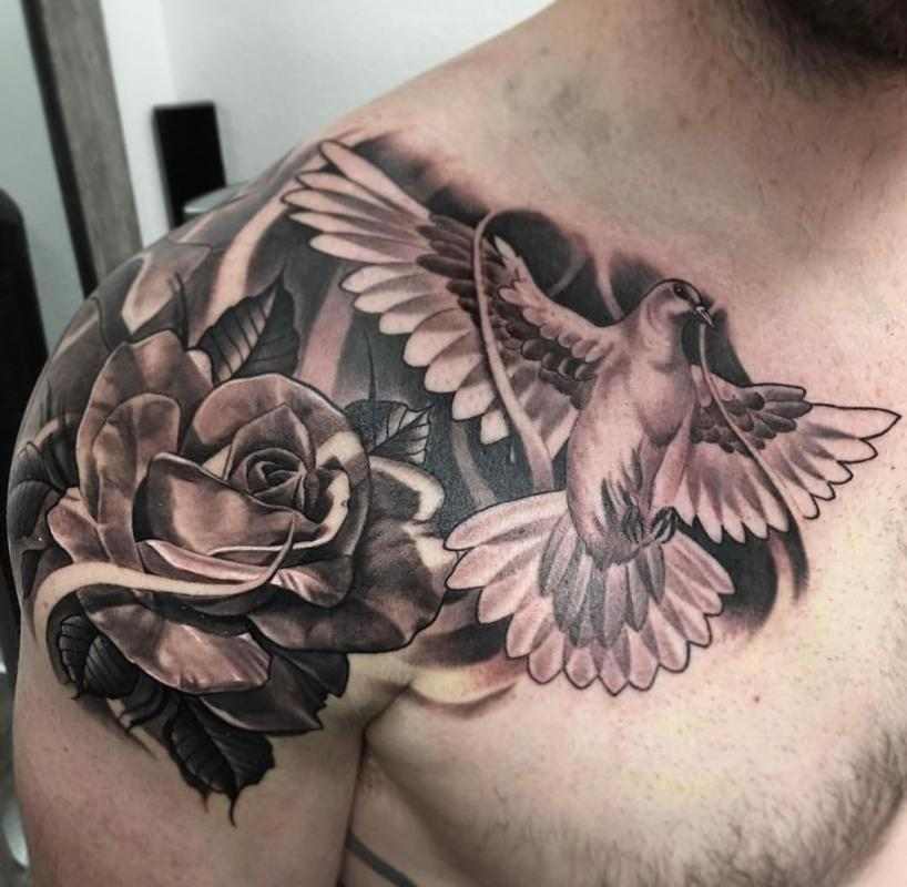 bebbfa460 Rebel Muse Tattoo : Tattoos : Ryan Townsend : Black & Gray Dove and Rose