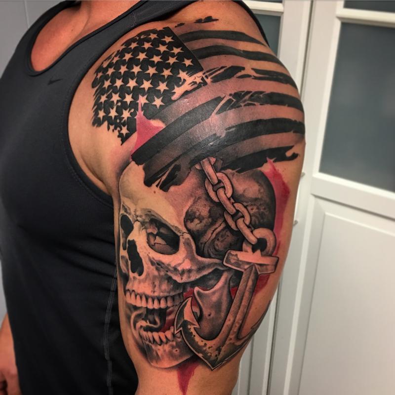 dac7ebc29 Trash Polka Style Flag Skull and Anchor Tattoo by David Mushaney Tattoo  Design Thumbnail