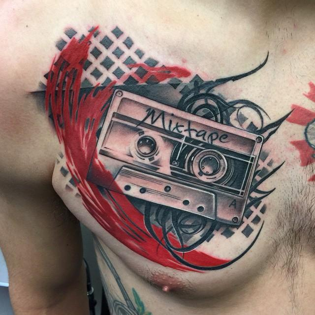 Old School Cassette Tape Chest Tattoo by David Mushaney