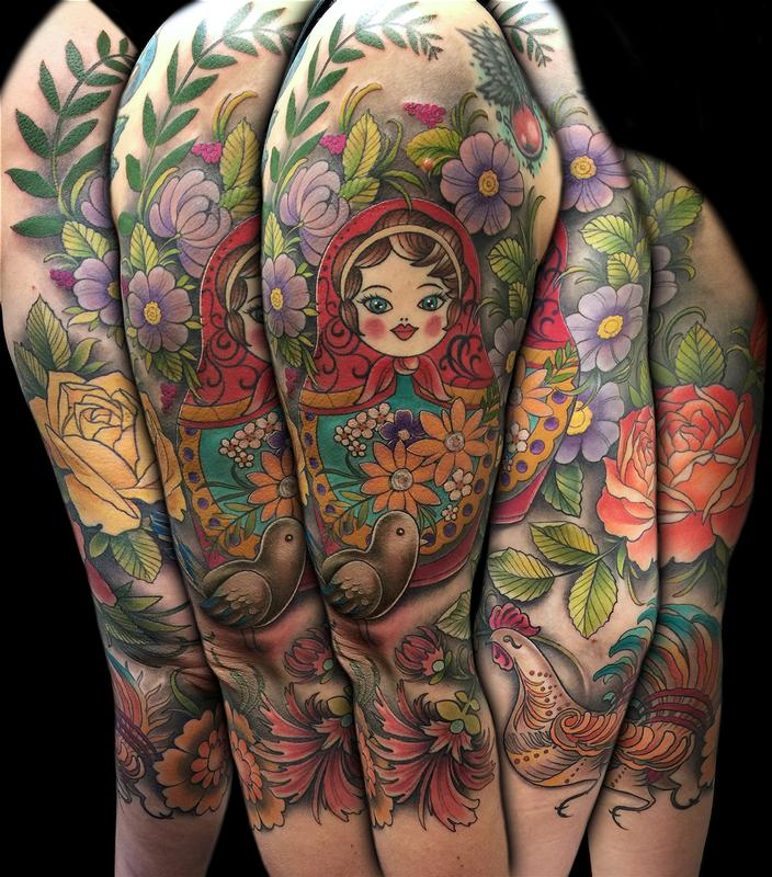 Colorful russian folk art 3 4 sleeve by david mushaney for 3 4 sleeve tattoo