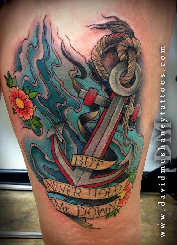 Colorful anchor thigh tattoo by david mushaney tattoonow for Colorful thigh tattoos