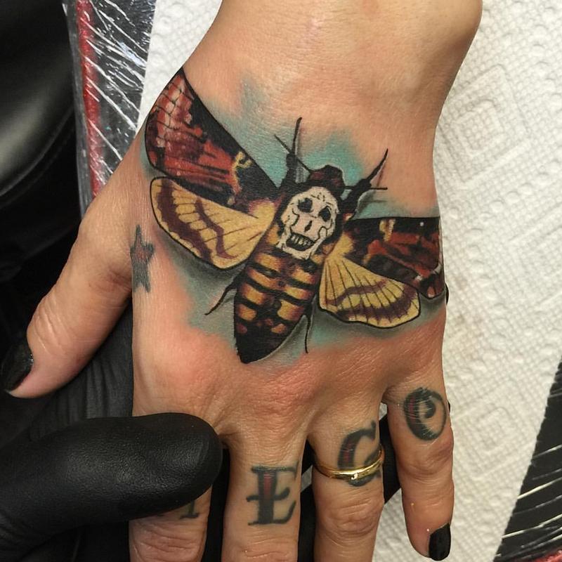 David mushaney tattoos tattoos animal dead head moth for Animal hand tattoos