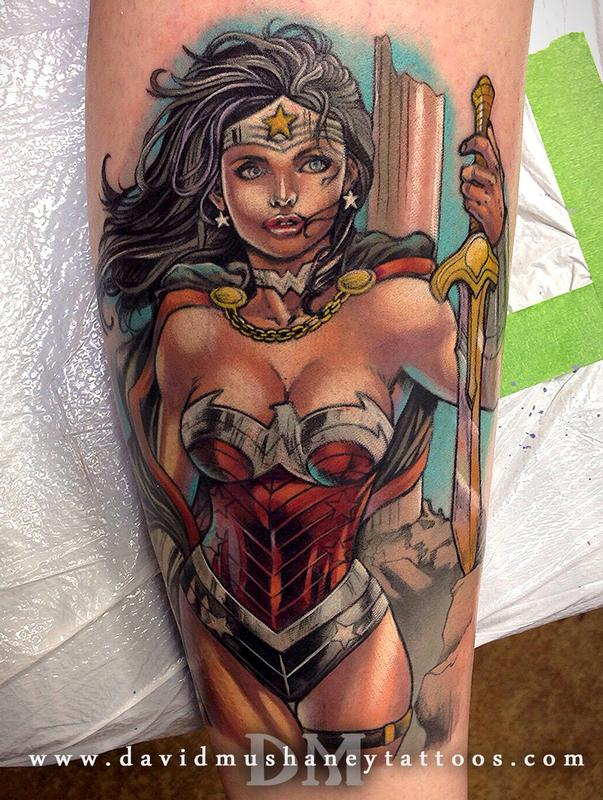 Color wonder woman calf tattoo by david mushaney tattoos for Tattooed wonder woman