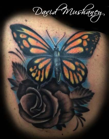 butterfly and rose cover up tattoo by david mushaney tattoonow. Black Bedroom Furniture Sets. Home Design Ideas
