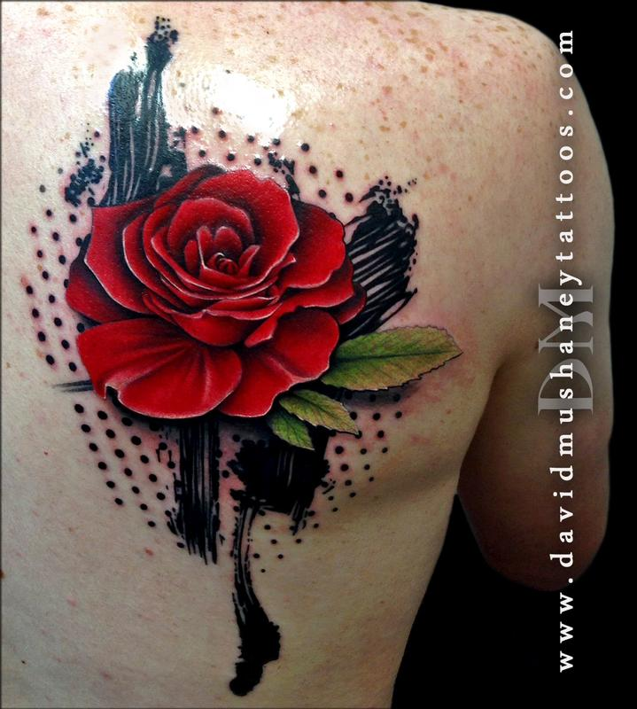 Abstract rose tattoo by david mushaney tattoos for Abstract rose tattoo