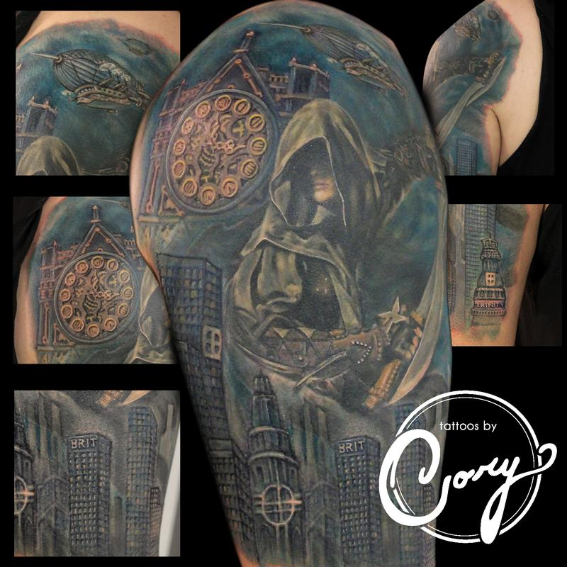 Assassin clock cityscape tattoo by cory claussen tattoonow for Tattoo shops sioux falls sd