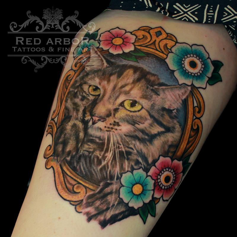 Kitty Cat Flowers in a Frame Tattoo by Cory Claussen: TattooNOW :