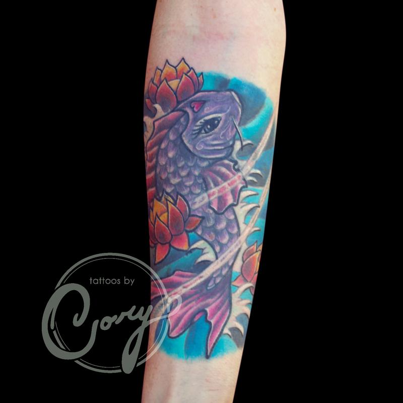 Koi fish lotus coverup tattoo by cory claussen tattoos for Koi fish cover up