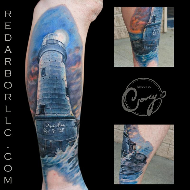 Color lighthouse water tattoo by cory claussen tattoos for Tattoo shops sioux falls sd