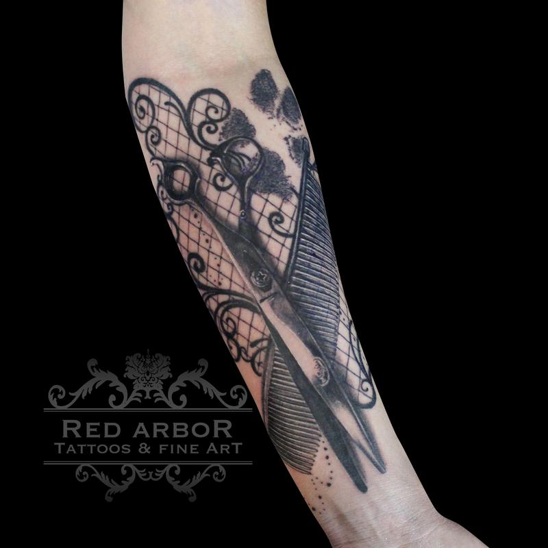 Scissors comb dog print lace tattoo by cory claussen for Tattoo shops sioux falls sd