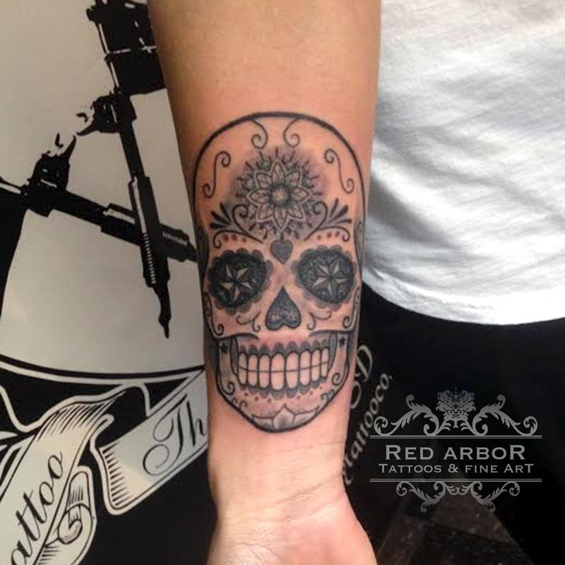 Simple sugar skull by cory claussen tattoonow for Tattoo shops sioux falls sd