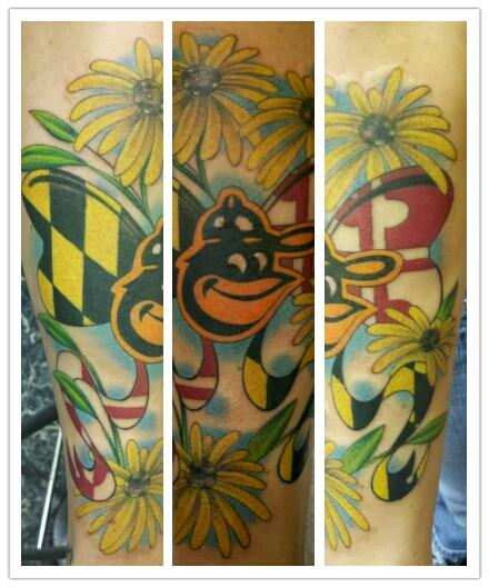 Maryland orioles pride by duffy fortner tattoonow for Maryland tattoo shops