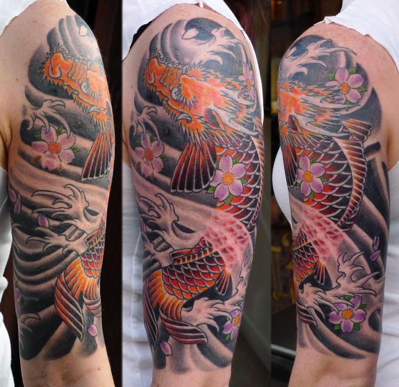 asian inspired dragon half sleeve by sweety tattoonow. Black Bedroom Furniture Sets. Home Design Ideas