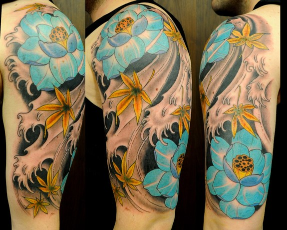 Lotus flowers and japanes maple leaves in waves by joshua for Japanese wave and flower tattoo