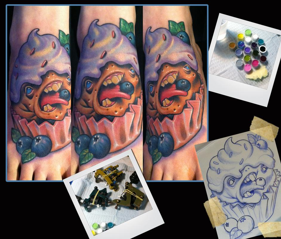 Blueberry cupcake monster tattoo by scotty munster for Tattoo shops in st cloud mn