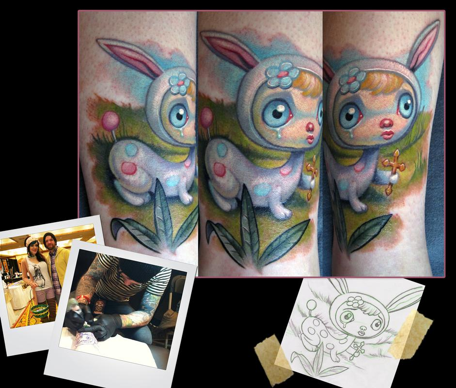 Mark ryden bunny tattoo by scotty munster tattoonow for Tattoo shops in st cloud mn