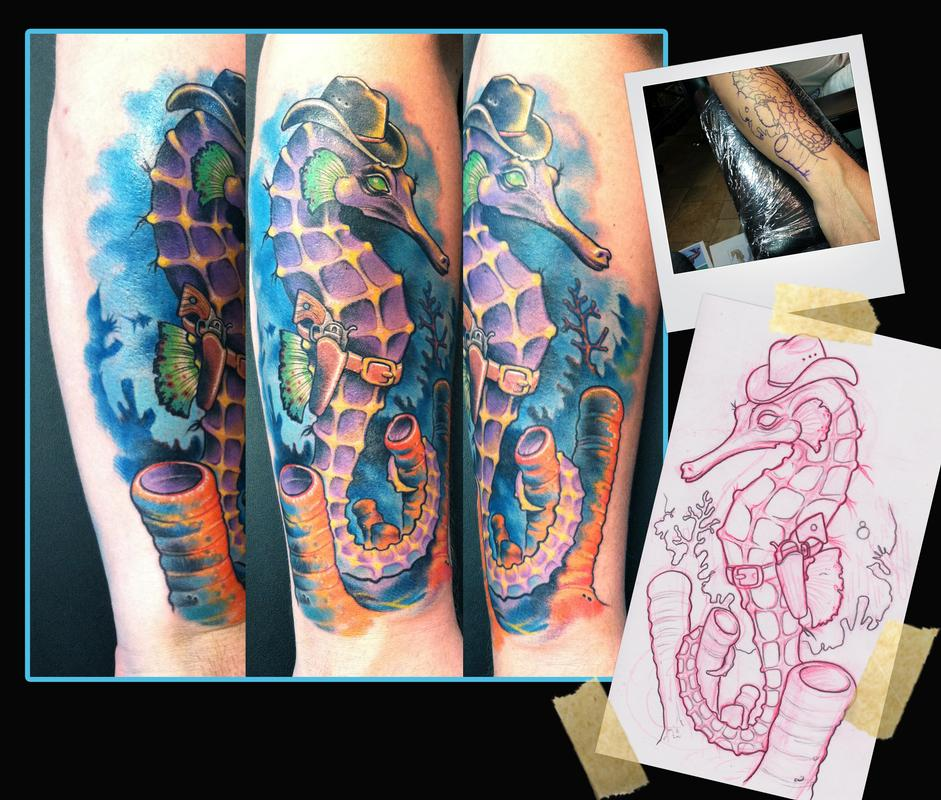 Outlaw seahorse tattoo by scotty munster tattoonow for Tattoo shops in st cloud mn
