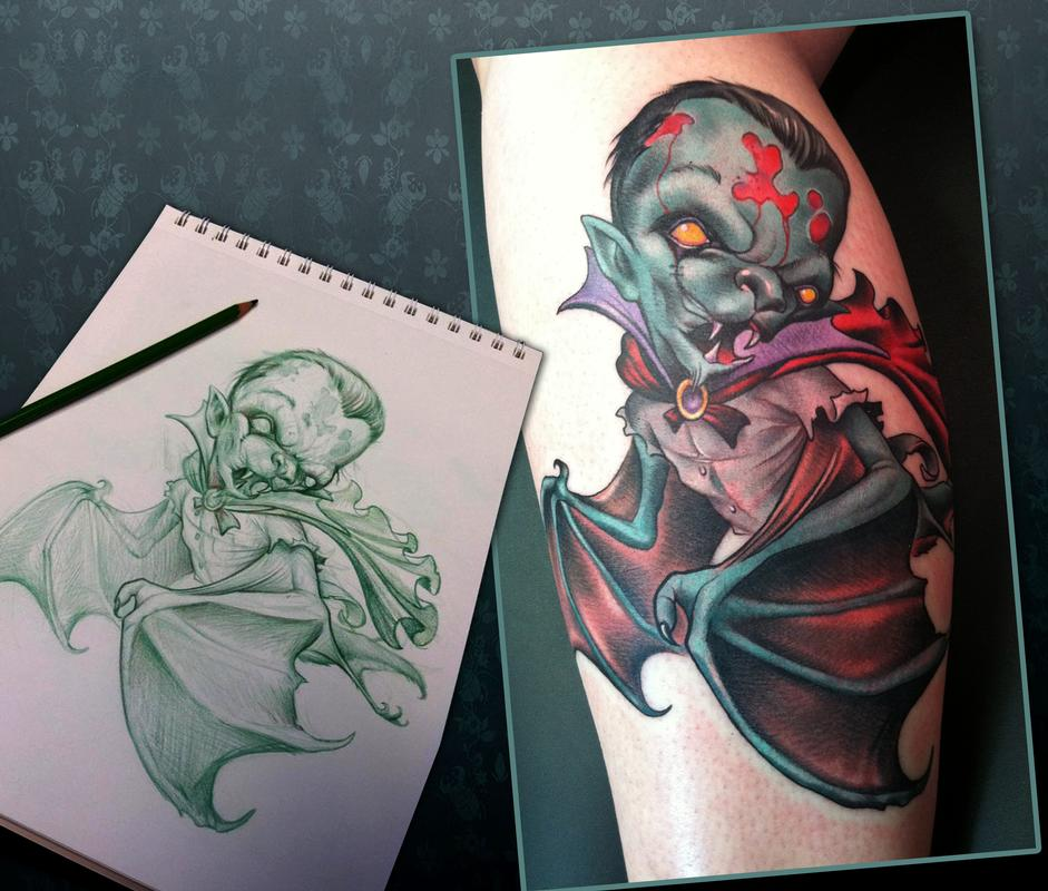 vampire bat tattoo by scotty munster tattoonow. Black Bedroom Furniture Sets. Home Design Ideas