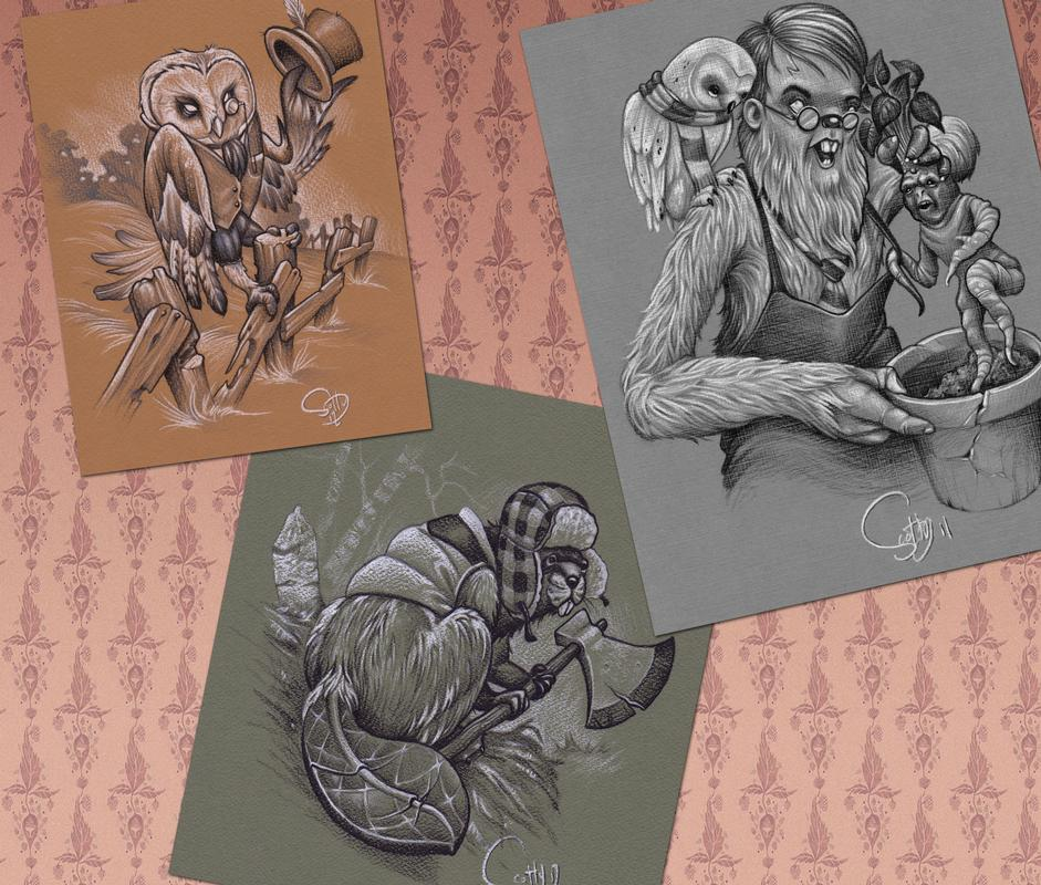 Owl bever and hairy potter sketches by scotty munster for Tattoo shops in st cloud mn