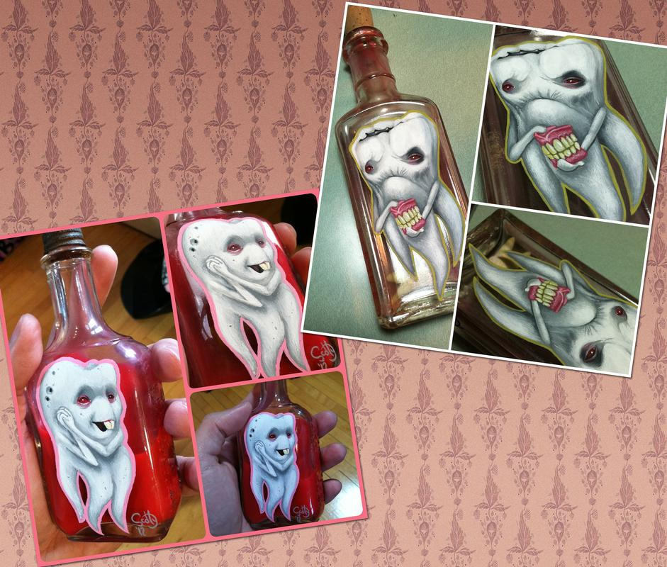 Teeth paintings on bottles by scotty munster tattoonow for Tattoo shops in st cloud mn