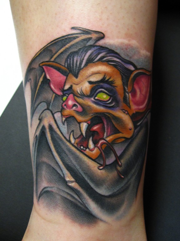 vampire bat tattoo by scotty munster tattoonow