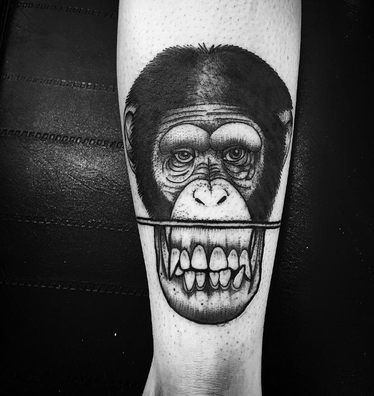 Monkey face by abes tattoonow for Monkey face tattoo