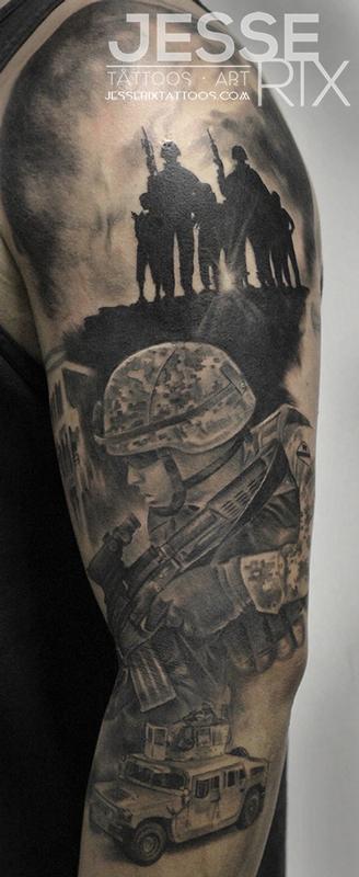 Military Sleeve Tattoo