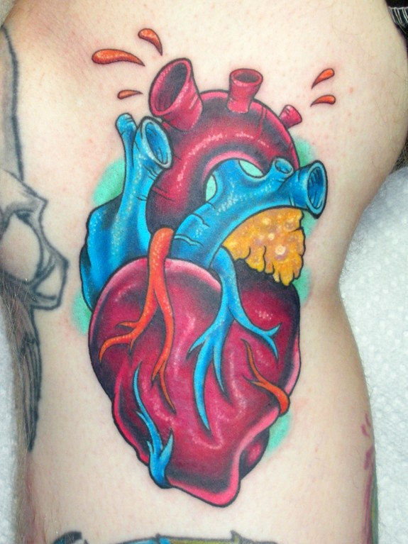 anatomical heart tattoo by mark duhan tattoonow. Black Bedroom Furniture Sets. Home Design Ideas