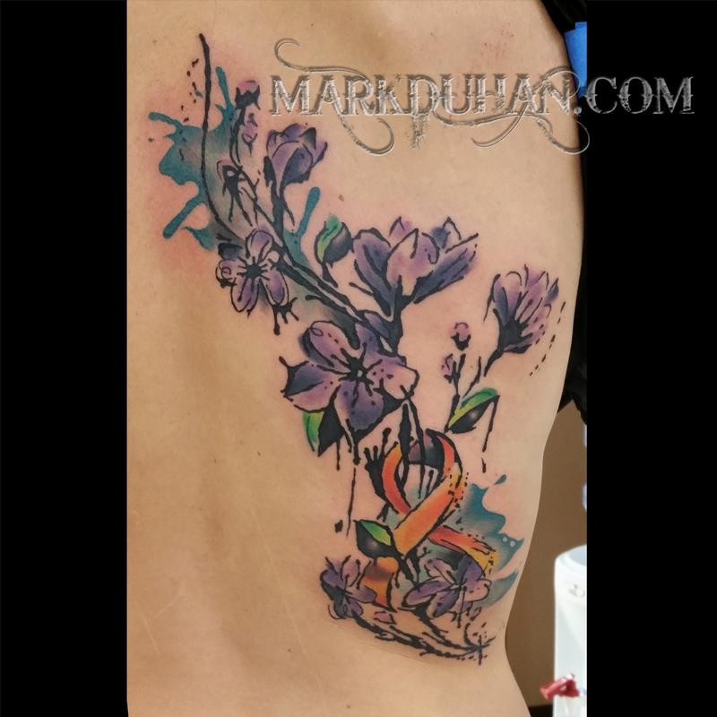 Watercolor Crocus And Cancer Ribbon By Mark Duhan Tattoonow