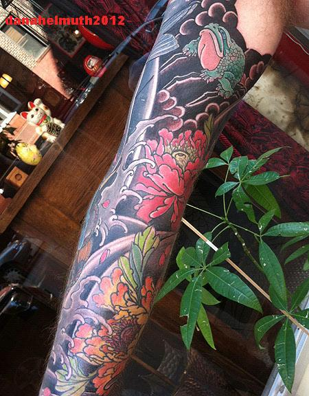 a95c28d32 peony and frog sleeve tattoo by Dana Helmuth: TattooNOW :