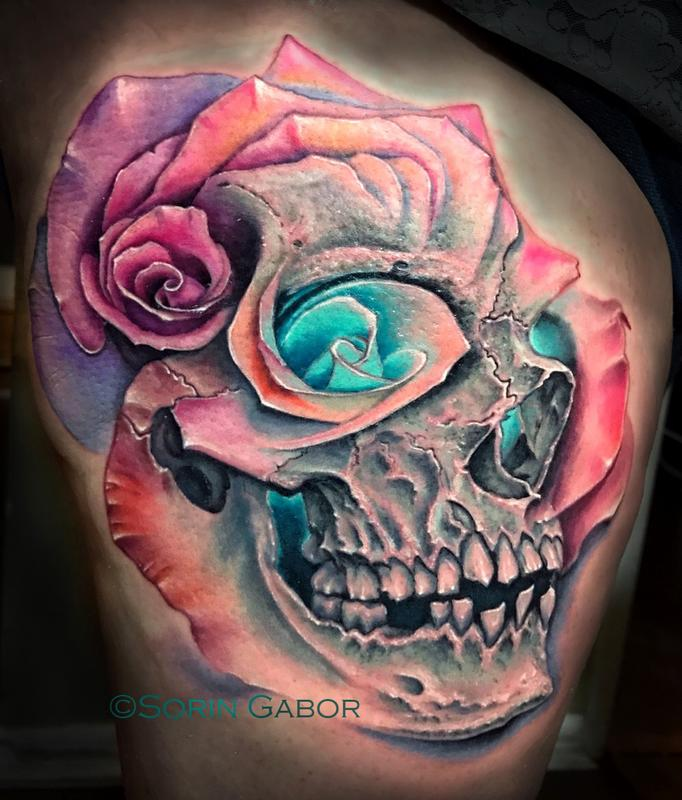 Realistic color skull and multiple rose morph tattoo by for Color skull tattoos