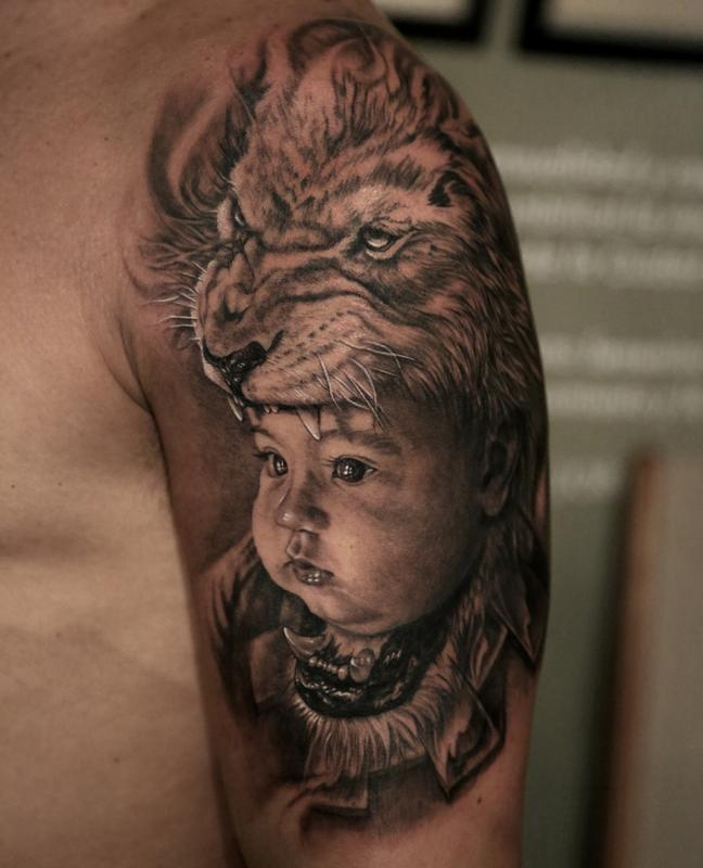 Stefano Alcantara Tattoos Nature Animal Lion Son Lion Headdress