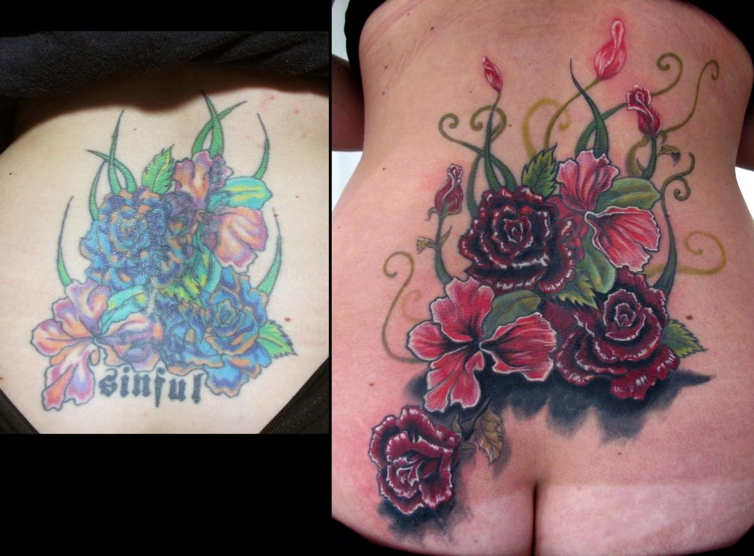 lower back flower coverup tattoo by stefano alcantara tattoos. Black Bedroom Furniture Sets. Home Design Ideas