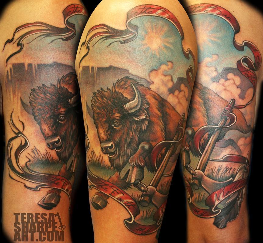 Buffalo on upper arm by teresa sharpe tattoonow for Tattoos of buffaloes