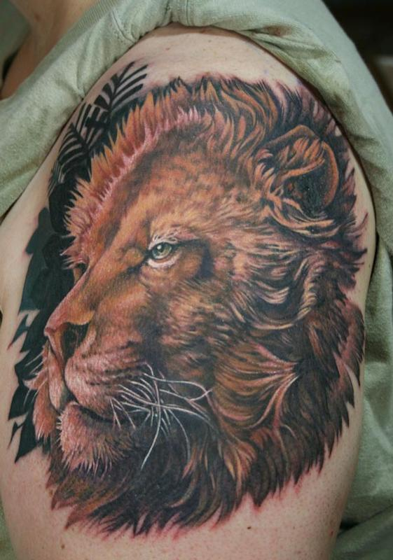 lion tattoo by teresa sharpe tattoonow. Black Bedroom Furniture Sets. Home Design Ideas