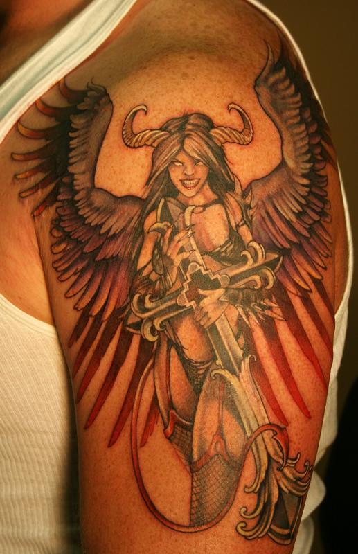 gothic angel by teresa sharpe tattoonow. Black Bedroom Furniture Sets. Home Design Ideas