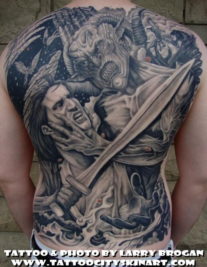 Angel And Demon Tattoo: Angle Vs Demon Backpiece By Larry Brogan : Tattoos