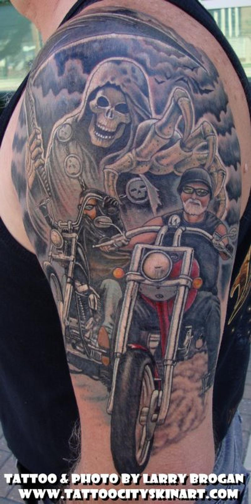Running from the reaper by larry brogan tattoonow for Motorcycle tattoo sleeve