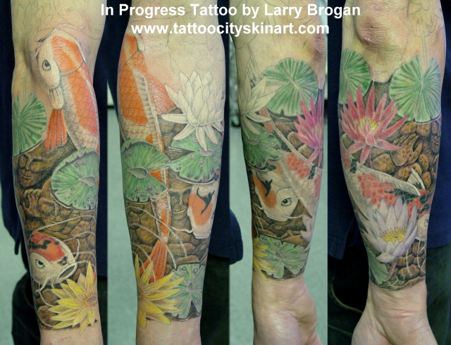 Off the map tattoo tattoos nature water koi pond in for Koi pond tattoo