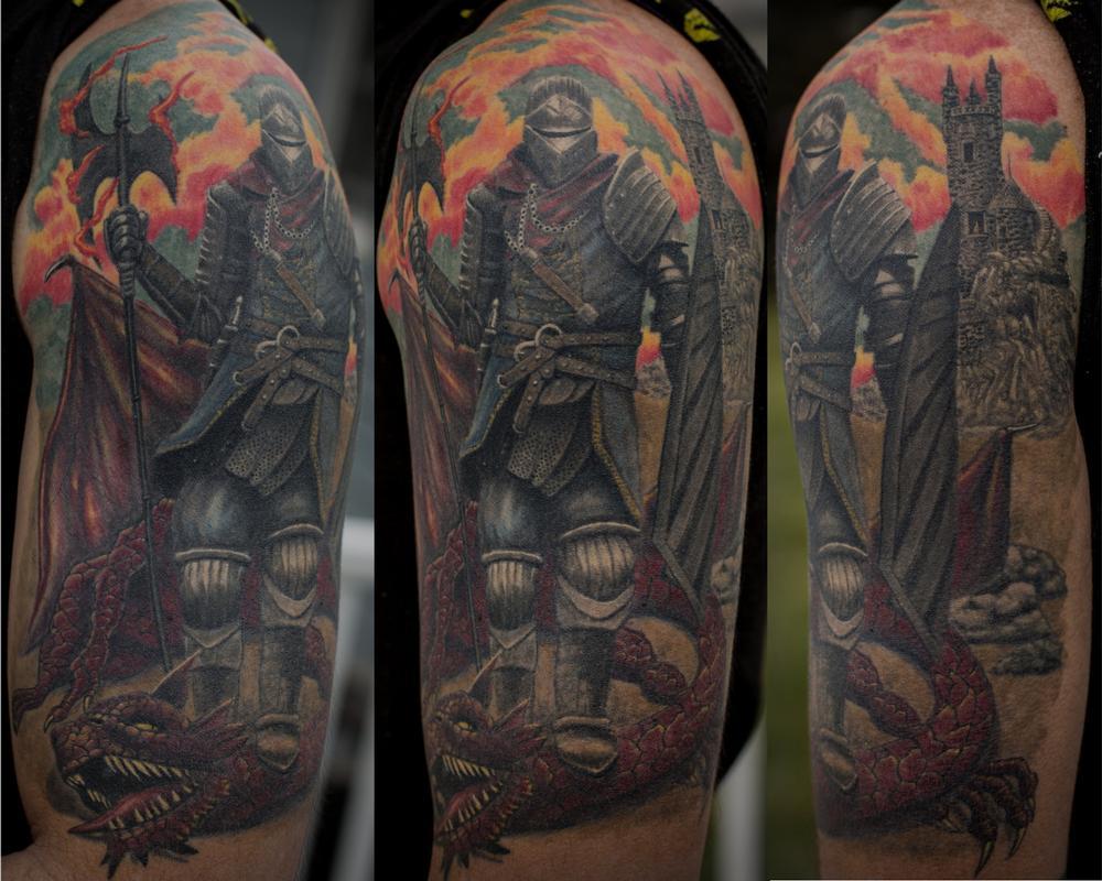 Dark souls knight by larry brogan tattoonow for Tattoo sleeve for dark skin