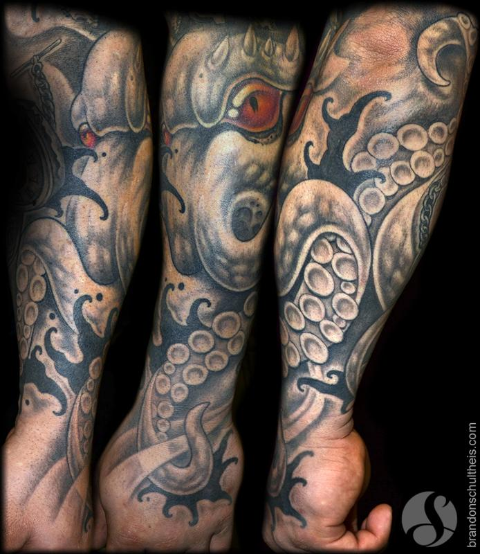 octopus forearm hand tattoo by brandon schultheis tattoonow. Black Bedroom Furniture Sets. Home Design Ideas